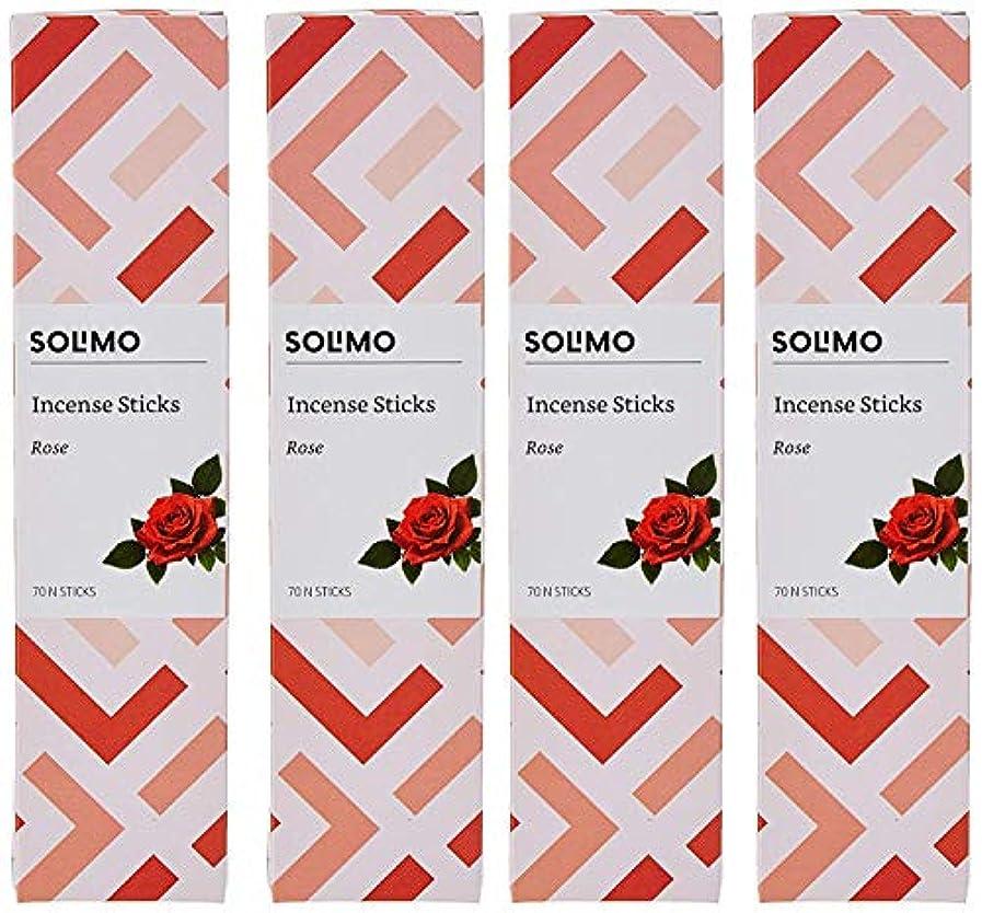 にケニアグリットAmazon Brand - Solimo Incense Sticks, Rose - 70 sticks/pack (Pack of 4)