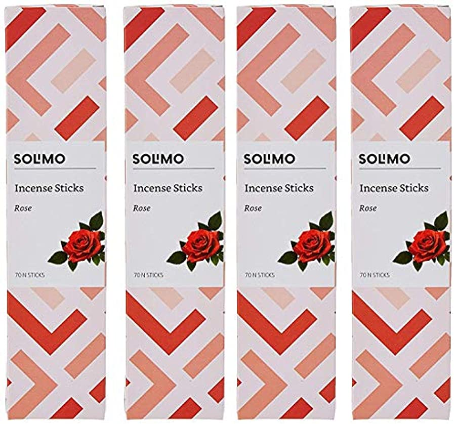 トランジスタ症状方程式Amazon Brand - Solimo Incense Sticks, Rose - 70 sticks/pack (Pack of 4)