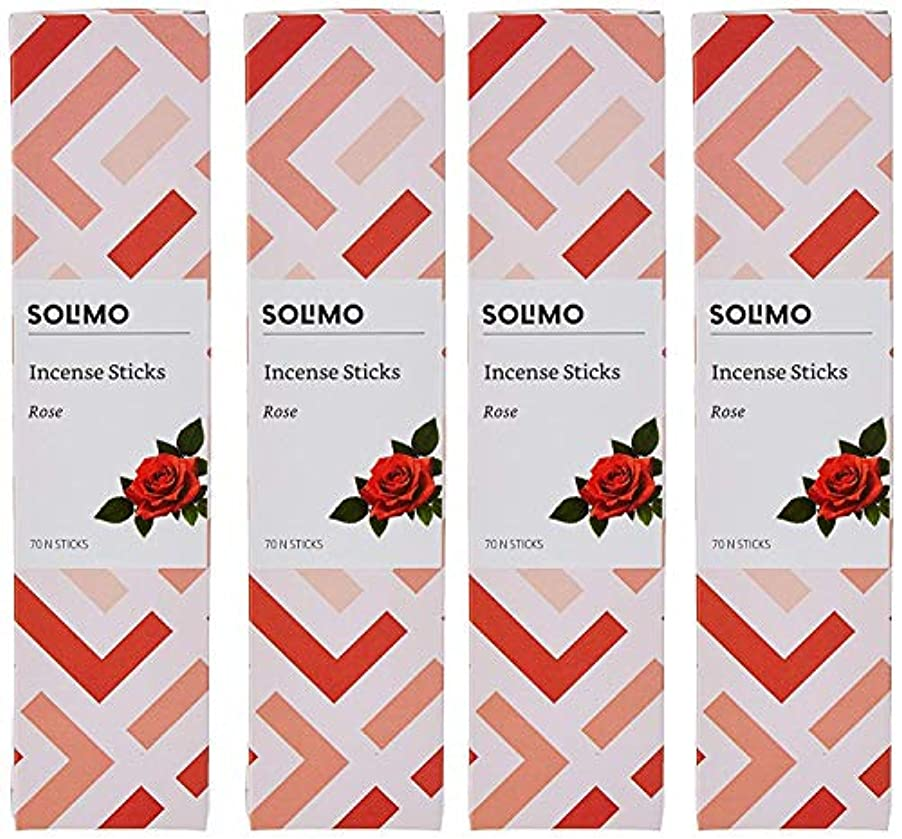 統合する数許可Amazon Brand - Solimo Incense Sticks, Rose - 70 sticks/pack (Pack of 4)