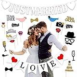 結婚式飾り付け フォトプロップス 白い赤い黒い JUSTMARRIED loveバナー バレンタイン 披露宴 二次会 記念日 パーティーデコレーション