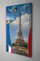 Tin Sign ブリキ看板 World Tour Wonders of the World Eiffel Tower Metal Plate