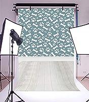 baocicco 5x 7ft子供部屋内部バックドロップビニール写真Backgroud子犬足跡とボーンパターン壁紙ダークグリーン壁木製床Boy誕生日パーティー休日肖像画