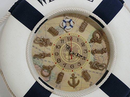 マリン系 壁掛け浮輪時計(柔らか樹脂使用) 直径35cm  (ブルー)