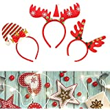 クリスマス用カチューシャ3点 トナカイのトナカイのトナカイのトナカイのトナカイのトナカイのトナカイのデザイン サンタクロースハットオーナメント クリスマスホリデーコスチューム用