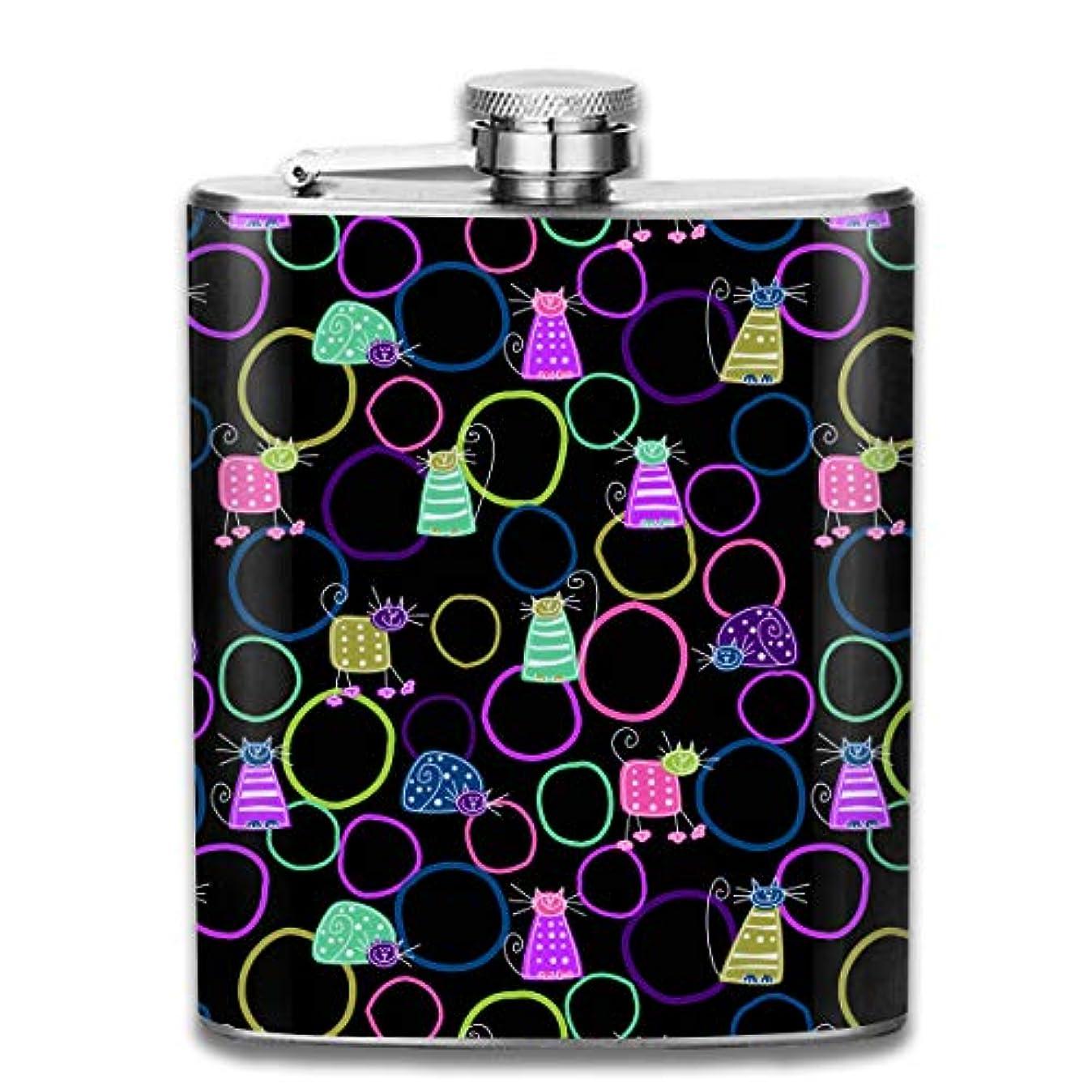 非難する無実電話に出る猫柄 フラスコ スキットル ヒップフラスコ 7オンス 206ml 高品質ステンレス製 ウイスキー アルコール 清酒 携帯 ボトル