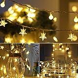 Aplanet イルミネーションLEDライト ボールライト 10m 電球数100 星型装飾ライト+円球飾りライト 2串 ワイヤーライト 電池式ストリングライト クリスマス パーティー 装飾ライト