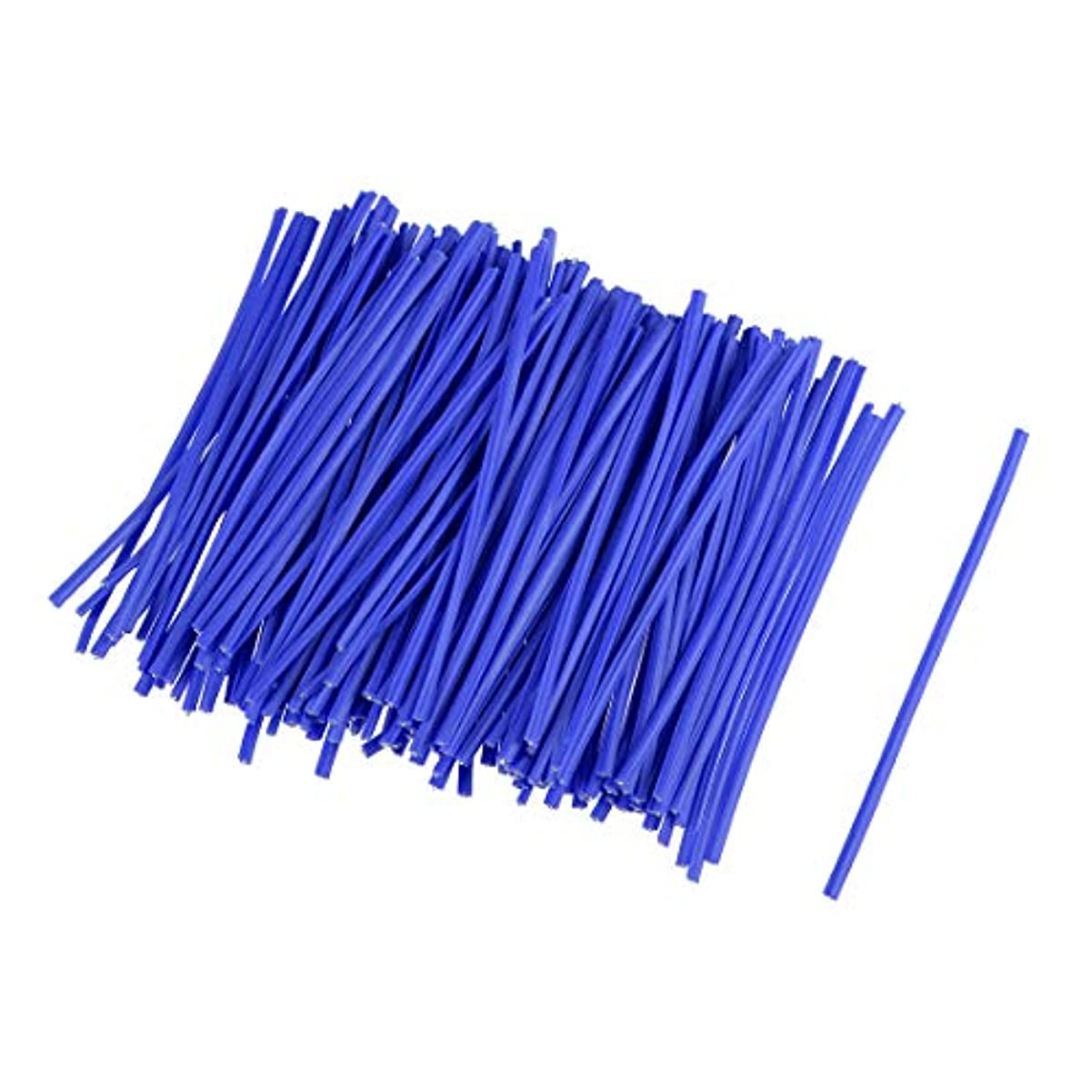 チケット繊維取り囲むuxcell ツイストタイ コードワイヤータイ ケーブルコードタイ 金属 プラスチック 長さ7.6cm 再利用可能 ブルー 500個入り