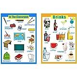B Blesiya ウォールチャート 学習ポスター 壁ポスター 保育園 幼稚園 英語 学習 壁紙 飲み物&教室 2枚
