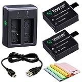 Smatree SJCAM SJ4000,SJ4000wifi, SJ5000, SJ5000wifi ,SJ5000 Plus, M10対応 バッテリー2個+急速デュアル充電器  バッテリーキット 計4点セット
