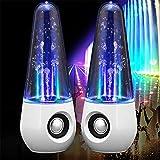 LEDライトスピーカー 音に合わせて踊る PCスピーカー USBスピーカー 6W 音楽噴水スピーカー ダンスウォーターショー iphone ipad用 スマホ、MP3、パソコン、携帯ゲーム機、携帯電話 対応 2個セット(ホワイト)