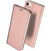 iPhone7ケース 手帳型 薄型 軽量 耐衝撃 耐摩擦 高級PUレザー 財布型 カード収納 マグネット スタンド機能 付 き スマホケース アイフォンケース 人気 おしゃれ ケース (iPhone7, ローズゴールド)