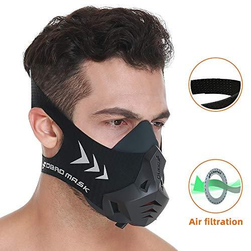 FDBRO スポーツマスクPRO フィットネス ランニング カーディオ 通気抵抗 異なる高度の空気条件シミュレーション Workout Training Mask 耐久トレーニング用マスク(黒,S)