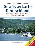 Gewaesserkarte Deutschland Sued. Rhein, Main, Mosel, Donau, Neckar, Bodensee