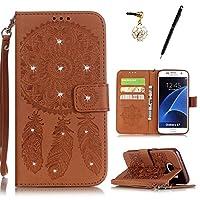 HB-Int 3 IN 1 Samsung Galaxy S7 ケース 手帳型 レザー カバー カードポケット スタンド機能 マグネット式 ストラップ付き ダイヤモンド 本型 キラキラ 脱着簡単 財布型 スマートフォンケース 横開き 二つ折り 携帯専用 スマホケース エンボス 花 純色 ドリームキャッチャー 茶色(携帯ケース×1、タッチペン×1 、イヤホンジャック×1)