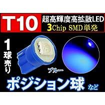 T10 3chip SMD 単発バルブ【青】