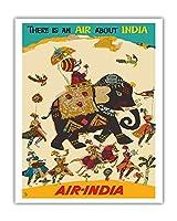 エア?インディア - インドについての空気がある - ハウガのマハラジャ(馬車)、リーガルのゾウ - ビンテージな航空会社のポスター c.1965 - アートポスター - 41cm x 51cm