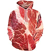 OVERMAL Unisex 3D Printed Raw Meat Pullover Long Sleeve Hooded Sweatshirt Tops Blouse T Shirts