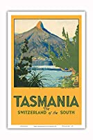 タスマニア - 南のスイス - マウント Ida, 湖 St. Clair - ビンテージな世界旅行のポスター によって作成された ハリー・ケリー c.1940 - アートポスター - 31cm x 46cm