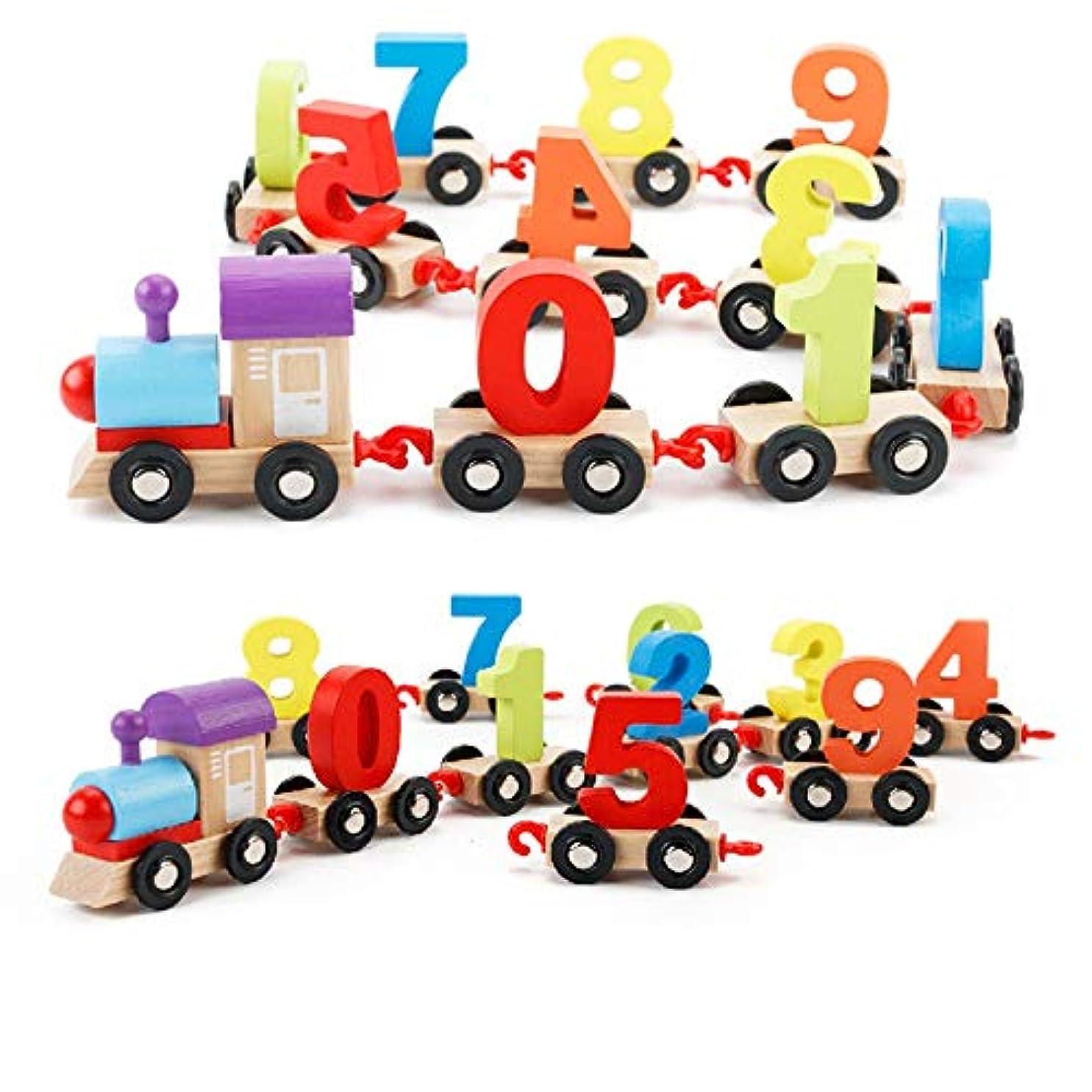 ファセット移民議論する子供の泡のビルディングブロック デジタル鉄道パズル組み立てカラー木製ステッチ小さな鉄道教育玩具子供のビルディングブロック 幼児教育の知的おもちゃ