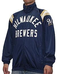 メンズアスレチックジップアップトラックジャケット: Mil Brewers