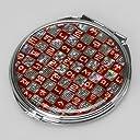 螺鈿細工 2倍率の拡大鏡付き メタル 丸型 ハングル文字 両面コンパクトミラー【レッド 赤】
