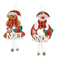 Semoic ホームパーティーのクリスマスベルの装飾雪だるまツリーの装飾庭休日古典的な装飾2個