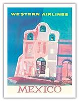 メキシコ - 欧米の航空会社 - スペイン語ミッションスリーベルカンパナリオ(ベルウォール) - ビンテージな航空会社のポスター によって作成された ウィル・グラント c.1959 - アートポスター - 51cm x 66cm