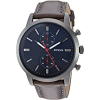 Fossil Townsman Grey Stainless Steel & Leather Watch FS5378