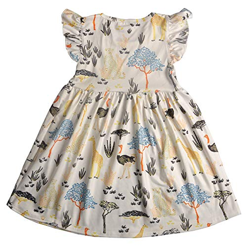 CONICE NINI Baby Girl Casual Short Sleeve Dresses Cartoon Clothing for Kids Girls Spring,Summer,Camping,Party Dresses - Blue - 3T