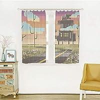 白い透け窓のカーテン レースカーテン 半透明感 ポンポン 洗える 省エネ 幅150x丈100m 2枚入 ファンタジーアートの家の装飾、雲、マルチでペイント効果のアパートでトリッピーな未来的な風景のコラージュ