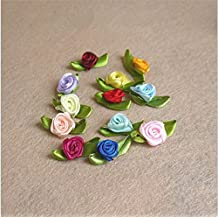 Hudue Handmade Bowknot Hair Accessories 1.5cm Ribbon Roses with Leaves Pink