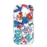 らくらくスマートフォン3 F-06F ケース ハードケース [キャンディロゴ・白ブルー系] ロリポップ ペイント らくらくスマートフォンスリー スマホケース 携帯カバー [FFANY] lolipopo-h143@03