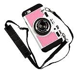 Nowest (ノウェスト) iPhone6S iPhone6 本格カメラ型 ケース 着せ替えで2デザインタイプ ネックストラップ付き (iPhone6/6s, ピンク)