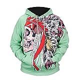 2018秋冬セーター、新しいハロウィーンヘッドプリントセーター3Dフード付きセーター大サイズメンズファッション (色 : 緑, サイズ : M)