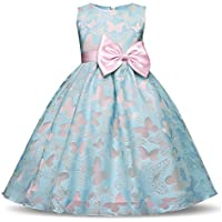 NNJXD Girl Sleeveless Tutu Butterfly Printed Princess Dress For 3-8 Years