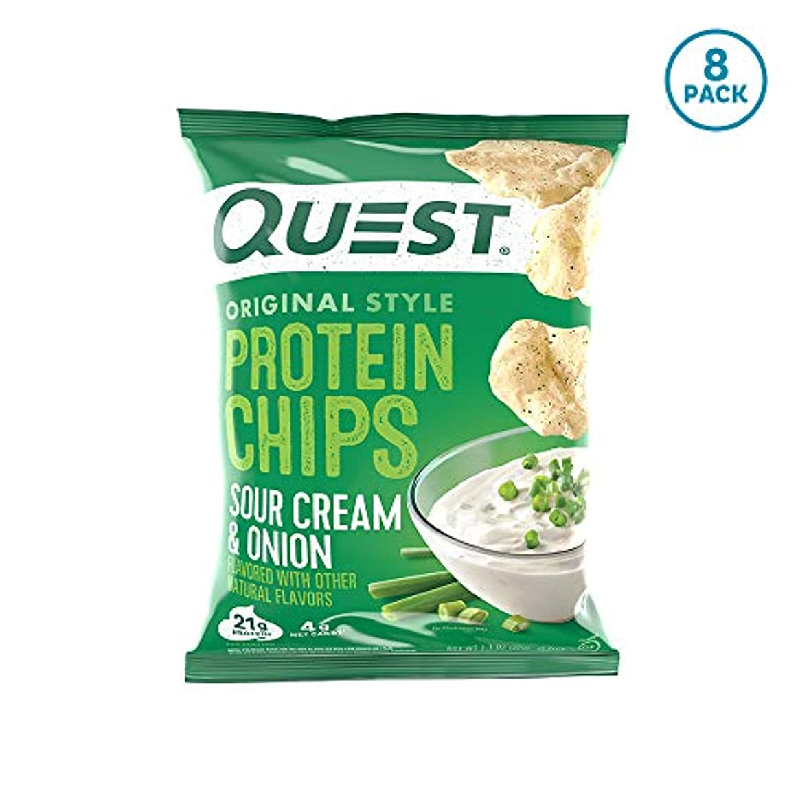 ラベル規範殺しますプロテイン チップス サワークリーム&オニオン フレイバー クエスト 8袋セット 並行輸入品 Quest Nutrition Protein Chips Sour Cream & Onion Pack of 8 海外直送品