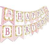PopパーティTea Party Happy Birthday Banner Pennant – カップケーキパーティーデコレーション – Teaパーティーデコレーション