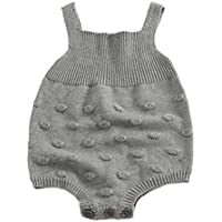 Cutelove ロンパース オーバーオール 男の子 女の子 赤ちゃん 幼児 ボーイズ ガールズ 春 秋 ニット 編み物 暖かい 可愛い 開きスナップボタン