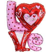uxcell 風船 フォイル LOVE 風船 結婚式 パーティー 記念日 お祝い 装飾 レッド ピンク