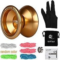 〔共同開発〕Magic YoYoXLeaningTech T5 Plus アルミ マジック ヨーヨー (ゴールド) 5本ストリングス+グローブ+アルミ製ヨーヨー +袋セット+10ボールベアリング