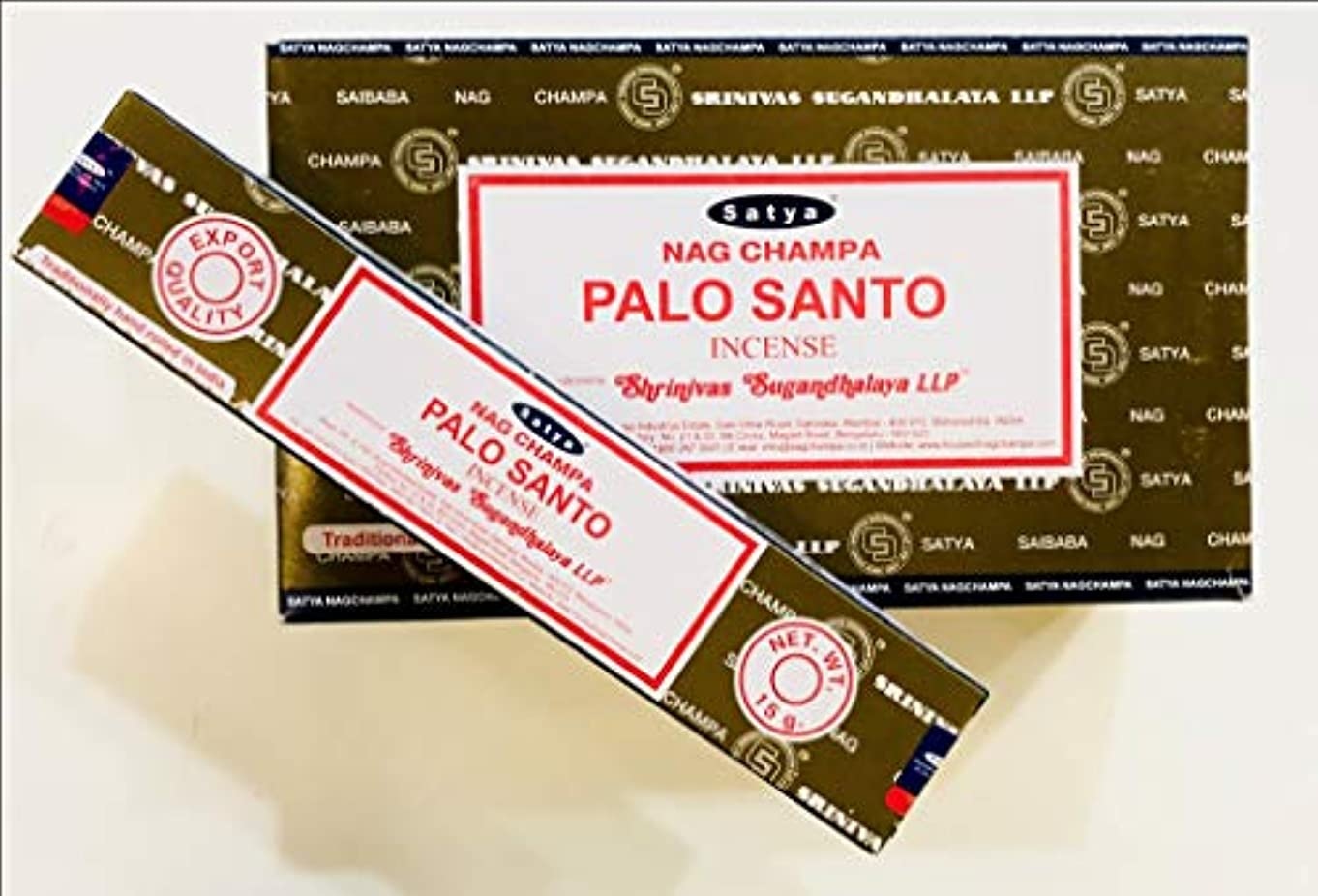 ポーチ所有権申請者Satya Nag Champa - Palo Santo お香スティック 12本パック x 15グラム 180グラムボックス 輸出品質