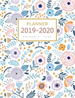 Planner 2019-2020 Academic Year: 8.5 x 11 Weekly Monthly Notebook Organizer Large with Hourly Time Slots | Cute Pastel Floral Design White