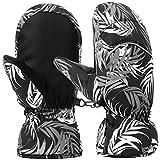 キッズ スキー手袋 スノボグローブ 子供用 防水 防寒 防風 滑り止め アウトドア ミトン型 (M, A-ブラックとグレー)