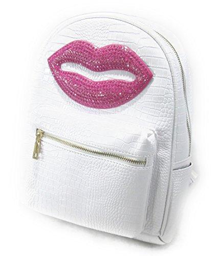 【ノーブランド品】 おしゃれ メタリックカラー キラキラ ピンクの 唇 リップ デコ リュックサック (ホワイト)