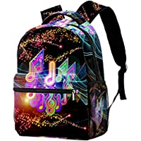 Backpack Colorful Waves and Music Notes School Bag Bookbag Hiking Travel Rucksack