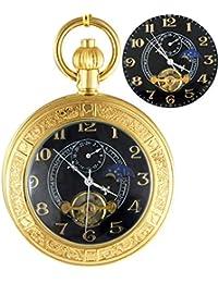 懐中時計自動機械式トゥールビヨン拡大鏡レトロポケットチェーン (Color : C)
