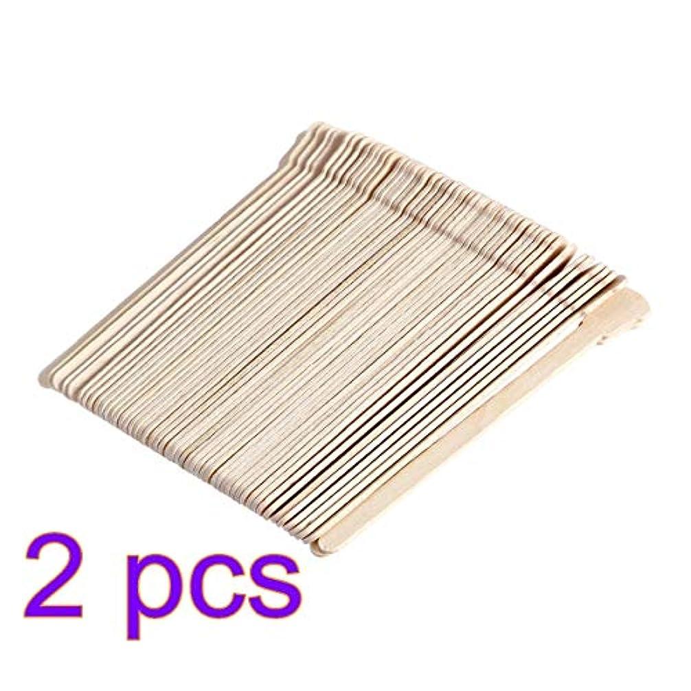 モードうっかりモットーSUPVOX 100ピース木製ワックススティックフェイス眉毛ワックスへら脱毛(オリジナル木製色)