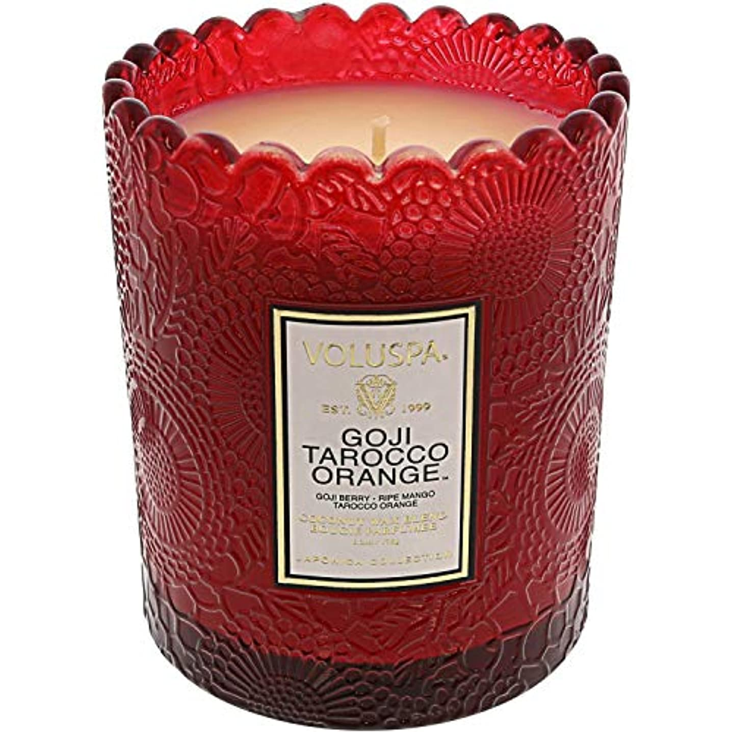 おんどり取る鋭くVoluspa ボルスパ ジャポニカ リミテッド スカラップグラスキャンドル  ゴージ&タロッコオレンジ GOJI & TAROCCO ORANGE JAPONICA Limited SCALLOPED EDGE Glass Candle