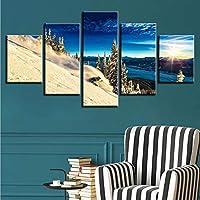 Xueshao 現代のHdキャンバス家の装飾5個山風景日光写真壁ポスターアートスプレー絵画額装-20X35Cmx2 20X45Cmx2 20X55Cmx1