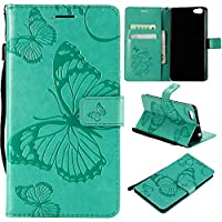 Vivo Y66 Flip Cover, Case, Phoebe 電話ケーススリム Card Slot [Stand Feature] Leather Wallet Case Vintage Book Style Magnetic Protective Cover Holder for Vivo Y66 - Green